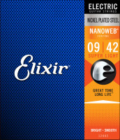 ​Струны для электрогитары Elixir 12002 Nanoweb Super Light 9-42