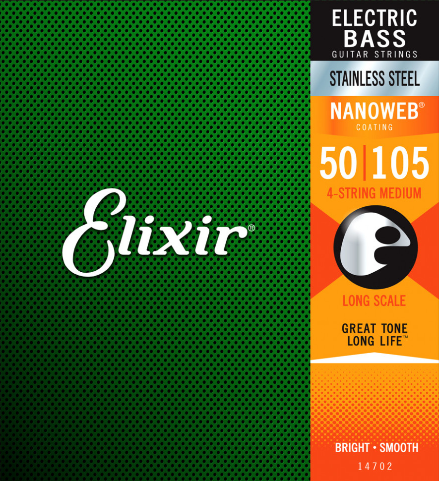 Струны для бас-гитары Elixir 14702 Stainless Steel Nanoweb Medium 50-105
