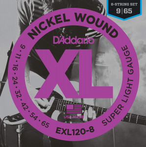 Струны для электрогитары D'Addario EXL120-8 Nickel Wound 9-65 8 струн