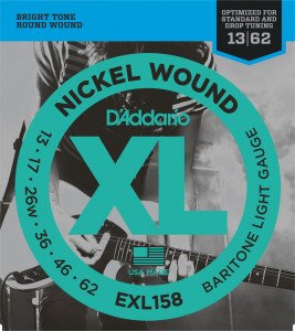 Струны для электрогитары D'Addario EXL158 Baritone Light Nickel Wound 13-62