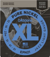 Струны для электрогитары D'Addario EPN21 Pure Nickel Jazz Light 12-51