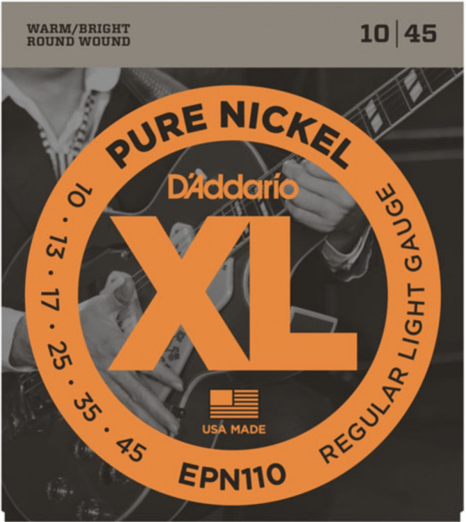 Струны для электрогитары D'Addario EPN110 Pure Nickel Regular Light 10-45