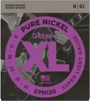 ​Струны для электрогитары D'Addario EPN120 Pure Nickel Super Light 9-41