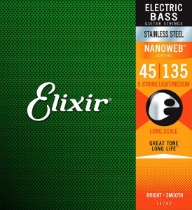Струны для бас-гитары Elixir 14782 Stainless Steel Nanoweb Light Medium 5 string 45-135
