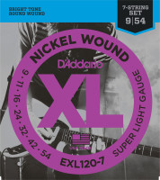 Струны для электрогитары гитары D'Addario EXL120-7 7-String Super Light Nickel Wound 9-54
