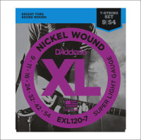 Струны для электрогитары гитары D'Addario EXL120-7 9-52 Nickel Wound