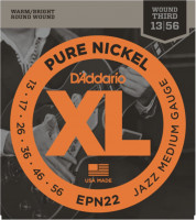 Струны для электрогитары D'Addario EPN22 Pure Nickel Jazz Medium 13-56