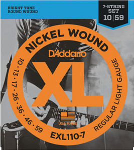 Струны для электрогитары D'Addario EXL110-7 7-String Regular Light Nickel Wound 10-59