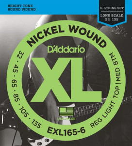 Струны для бас-гитары D'Addario EXL165-6 Custom Light 6-String Nickel Wound 32-135