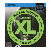 Струны для бас-гитары D'Addario EXL165-6 XL, 32-135, Nickel Wound