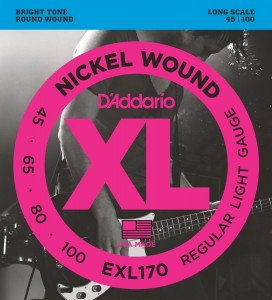 ​Струны для бас-гитары D'Addario EXL170 Nickel Wound Light 45-100, Long Scale