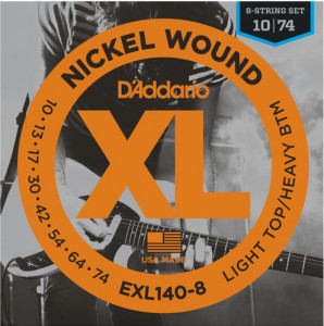 Струны для электрогитары D'Addario EXL140-8 8-String Light Top Heavy Bottom Nickel Wound 10-74