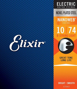 ​Струны для электрогитары Elixir 12062 Nanoweb Light 8-string 10-74