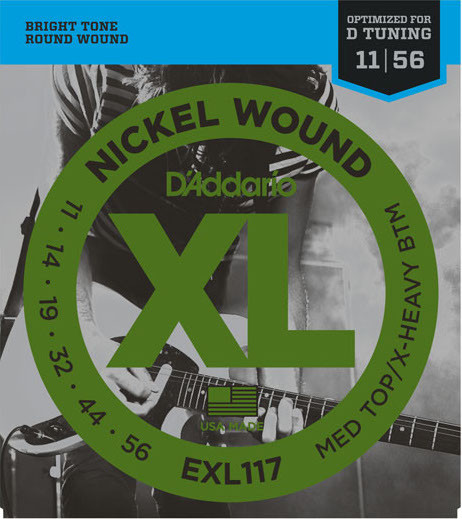 Струны для электрогитары D'Addario EXL117 Medium Top Extra-Heavy Bottom Nickel Wound 11-56