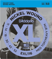 Струны для электрогитары D'Addario EXL116 Medium Top Heavy Bottom Nickel Wound 11-52