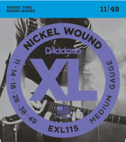 Струны для электрогитары D'Addario EXL115 Medium Blues-Jazz Rock Nickel Wound 11-49