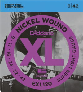 Струны для электрогитары D'Addario EXL120 Super Light Nickel Wound 9-42