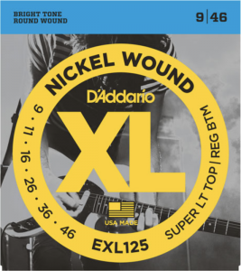 Струны для электрогитары гитары D'Addario EXL125 Super Light Top Regular Bottom Nickel Wound 9-46
