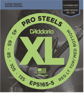 Струны для бас-гитары D'Addario EPS165-5 ProSteels Custom Light 45-135