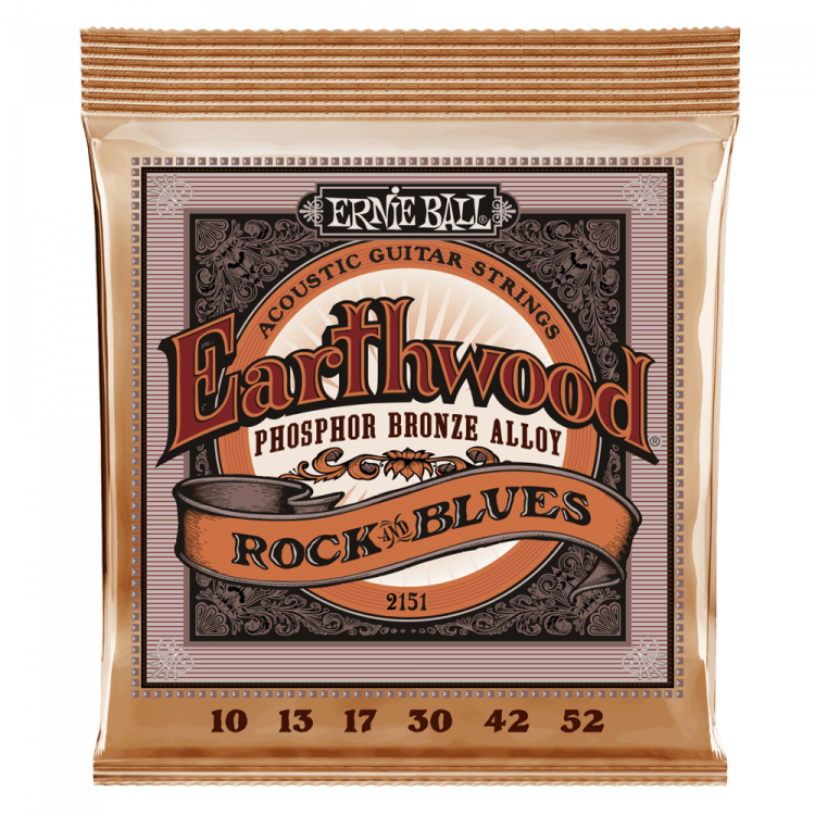 Струны для акустической гитары Ernie Ball 2151 Earthwood Rock And Blues Plain G Phosphor Bronze 10-52