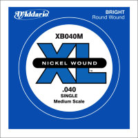 Одиночная струна для бас-гитары D'Addario 40 XB040M Nickel Wound