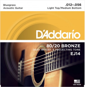 D'Addario EJ14 80/20 Bronze Acoustic Light Top/Medium Bottom/Bluegrass, 12-56 струны для акустической гитары