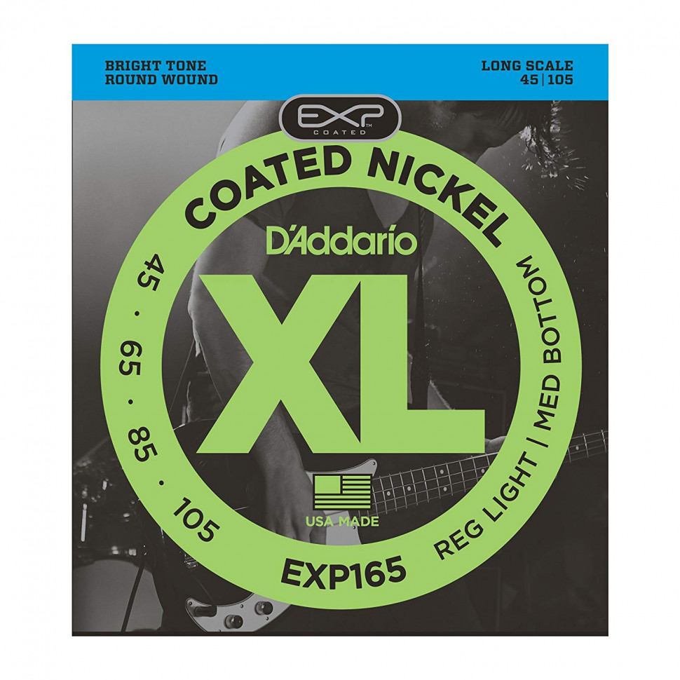 Струны для бас-гитары D'Addario 45-105 EXP165 Coated