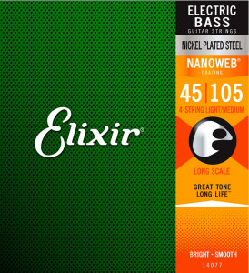 ​Струны для бас-гитары Elixir 14077 Nanoweb Nickel Light Medium 45-105