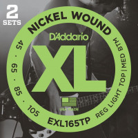 Струны для бас-гитары D'Addario EXL165TP Custom Light Nickel Wound 45-105 2 комплекта