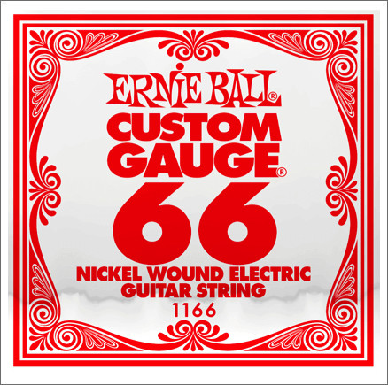 ​Одиночная струна для электрогитары Ernie Ball 1166, Nickel Wound, 66