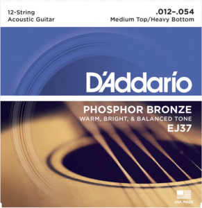 D'Addario EJ37 Phosphor Bronze 12-String Acoustic Medium Top/Heavy Bottom, 12-54 струны для акустической гитары