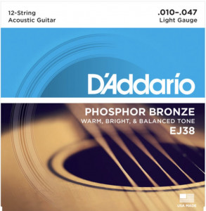 D'Addario EJ38 Phosphor Bronze 12-String Acoustic Guitar Strings, Light, 10-47 струны для акустической гитары