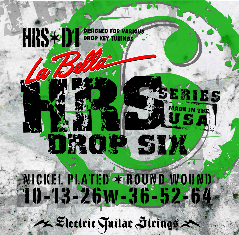 ​Струны для электрогитары La Bella HRS-D1 Hard Rockin Steel Drop Six 10-64