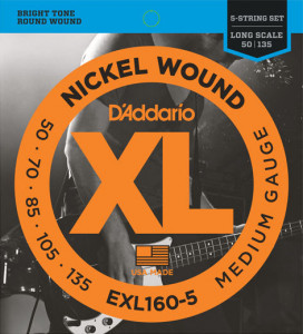 Струны для бас-гитары D'Addario EXL160-5 Nickel Wound 5-String Medium 50-135