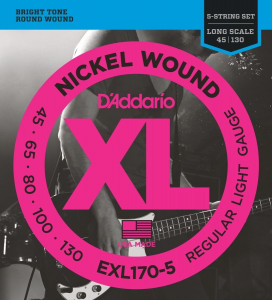 ​Струны для бас-гитары D'Addario EXL170-5 Light 5 String Long Scale Nickel Wound 45-130