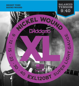 ​Струны для электрогитары D'Addario EXL120BT Nickel Wound Balanced Tension Super Light 9-40